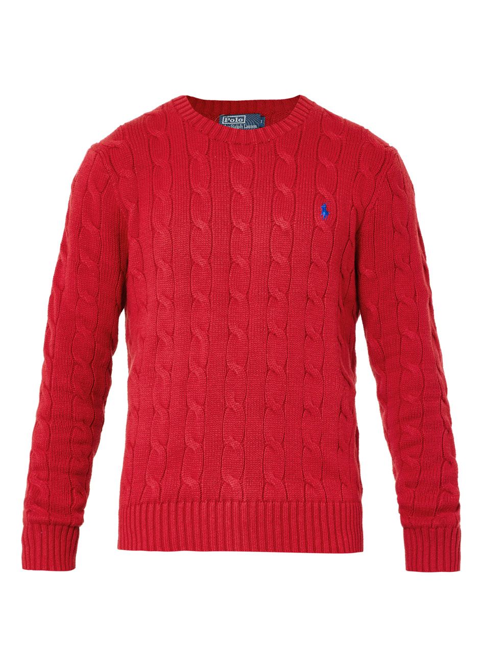 Polo ralph lauren Cable-knit Crewneck Sweater in Red for Men | Lyst