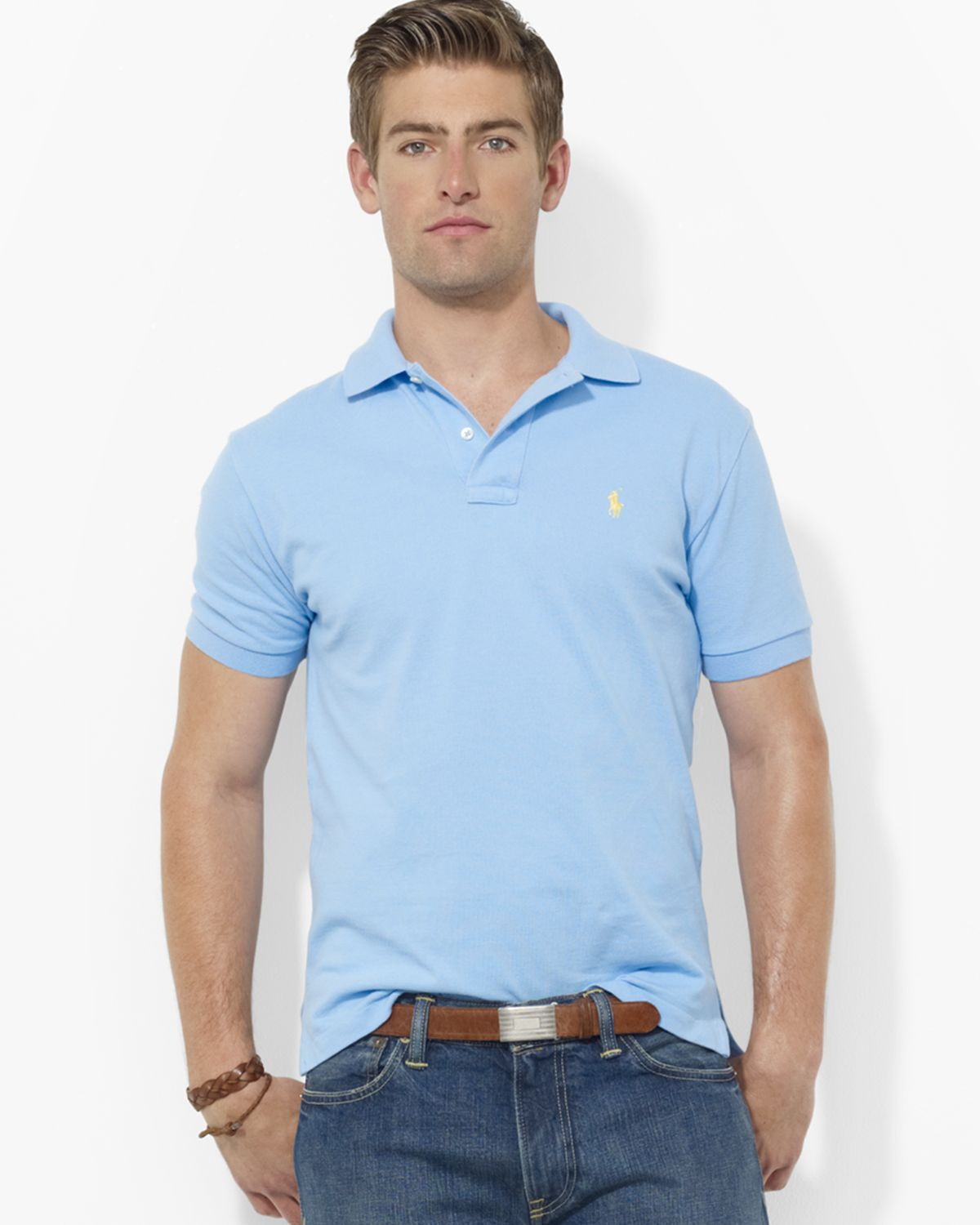 Polo Ralph Lauren. Men\u0026#39;s Blue Custom Short-sleeved Cotton Mesh ...