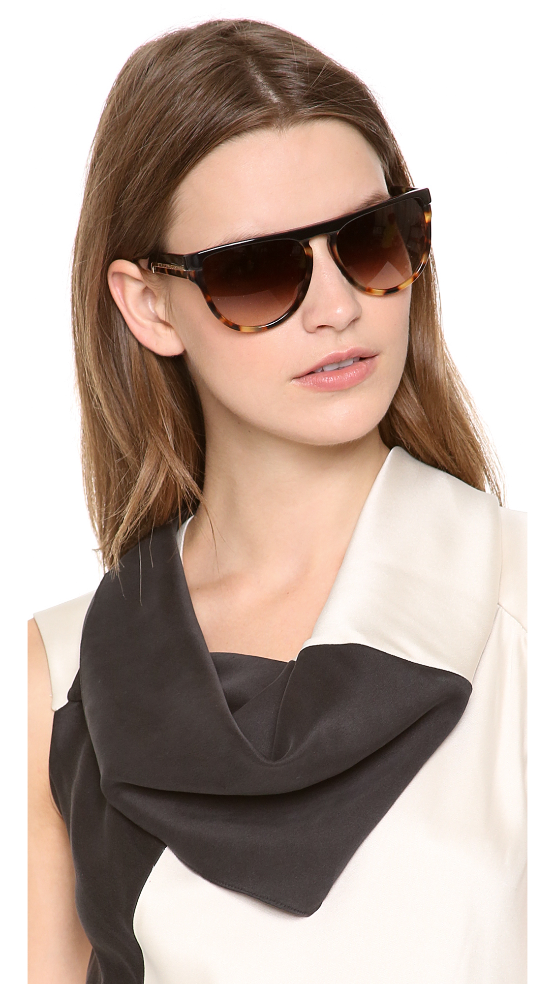 2b4868f47 Stella McCartney Flat Top Oversized Sunglasses - Top Black/Grey ...