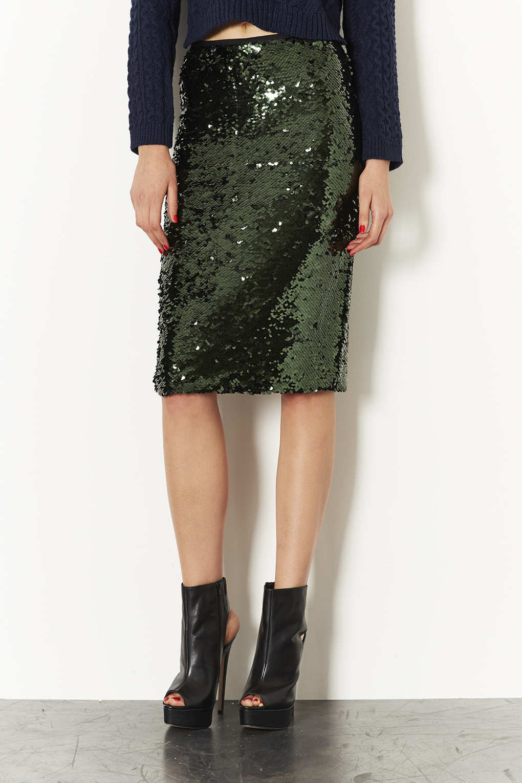 Lyst Topshop Sequin Pencil Skirt In Green