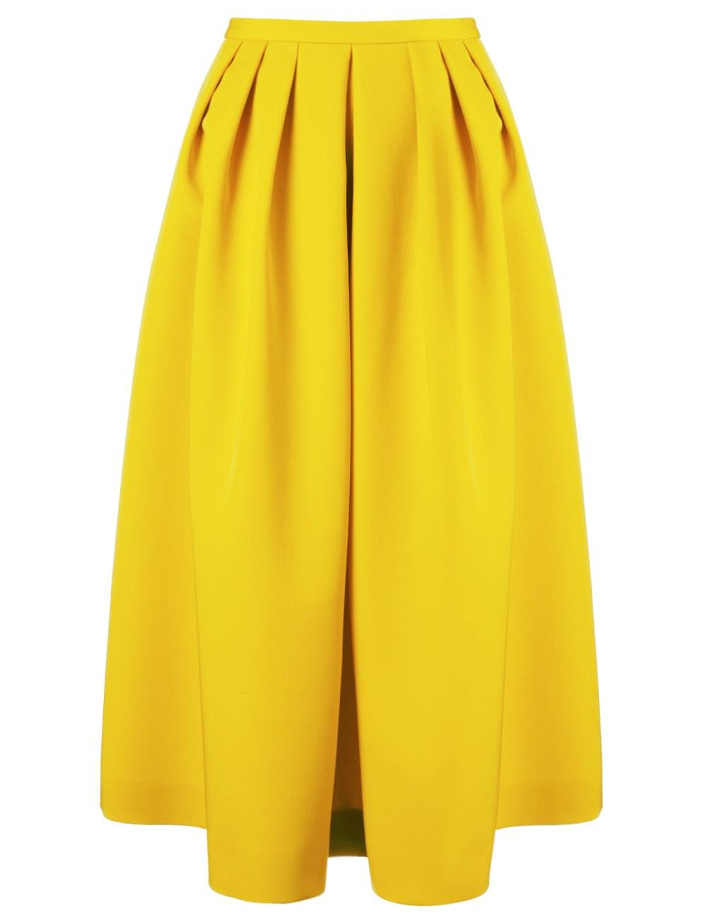 antonio marras yellow wool midi skirt in yellow lyst