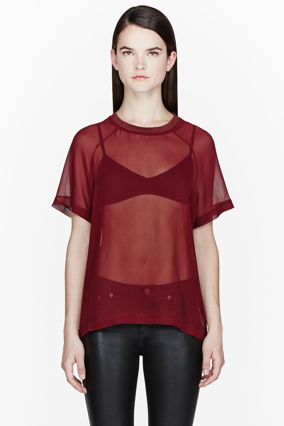 blk dnm maroon silk sheer raglan tshirt in brown maroon