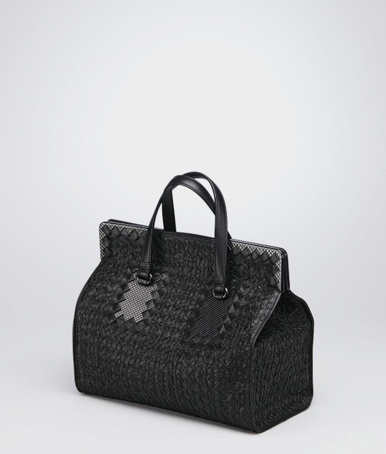 Bottega veneta Nero Intreccio Tricot Raffia Bag in Black (Nero) | Lyst