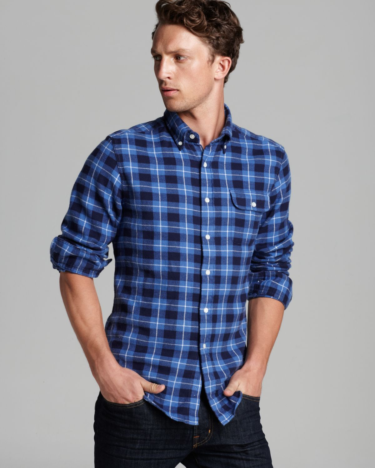Gant the mb freedom flannel sport shirt slim fit in blue for Trim fit flannel shirts