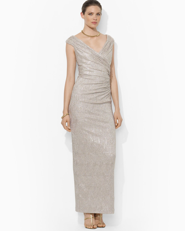 Lyst - Lauren By Ralph Lauren Cap Sleeve Metallic Knit Gown in Metallic