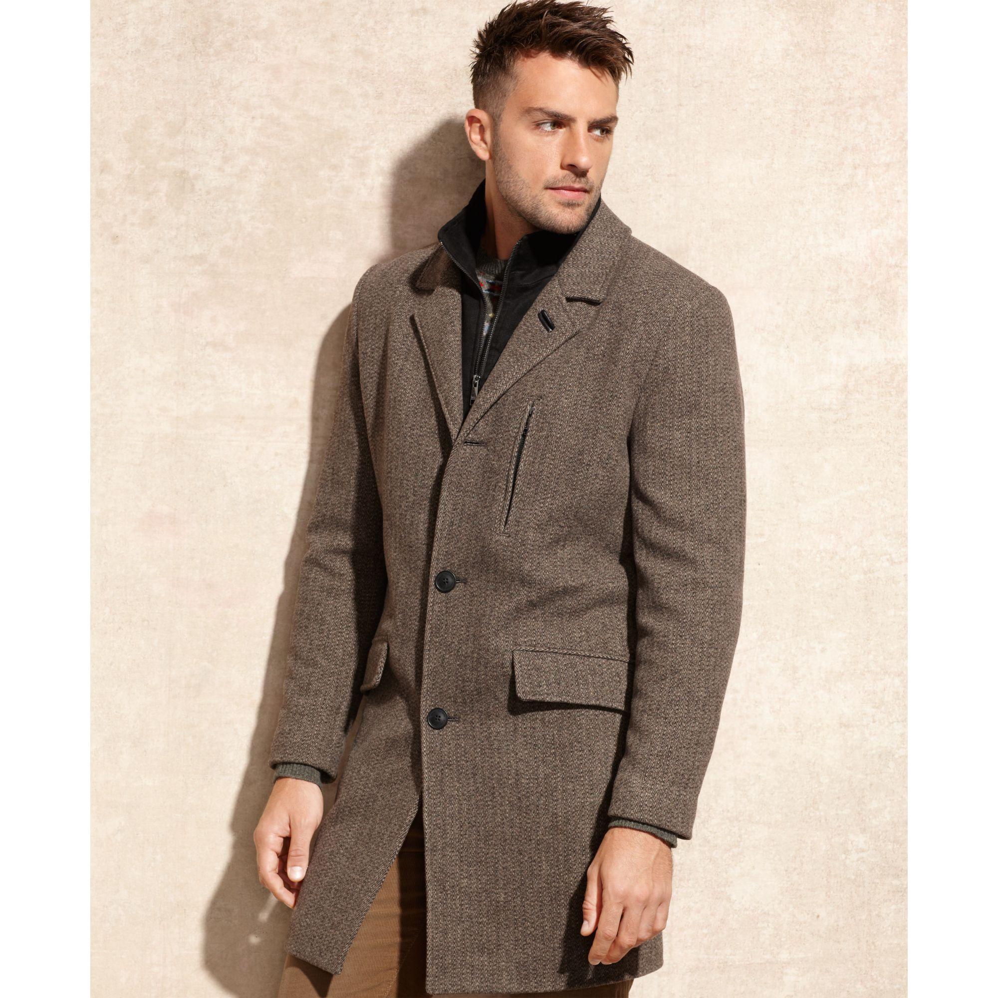 Marc new york Hoyt Herringbone Wool Top Coat in Natural for Men | Lyst