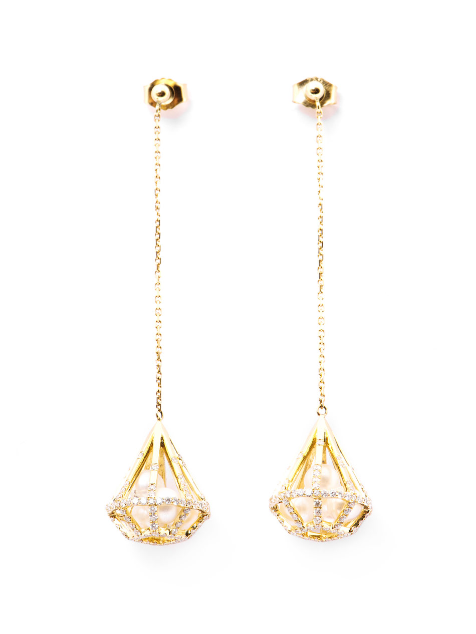 Melanie Georgacopoulos Diamond Pearl Yellow Gold Drop