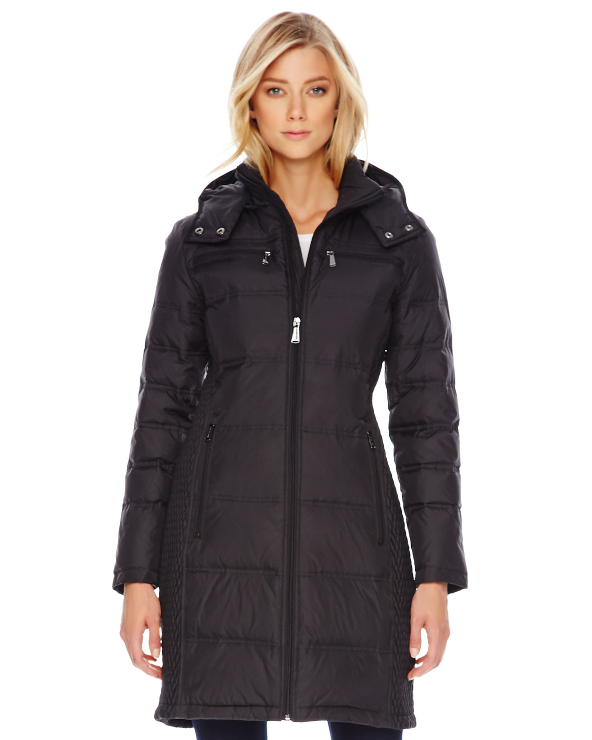 michael kors michael side texture puffer coat in black lyst. Black Bedroom Furniture Sets. Home Design Ideas