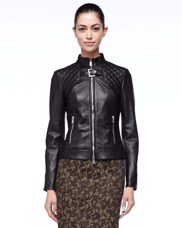 michael kors quilted leather jacket in black lyst. Black Bedroom Furniture Sets. Home Design Ideas