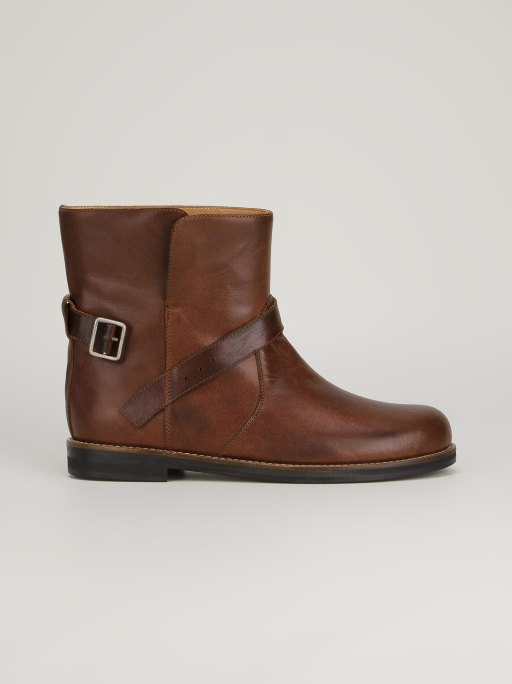Mm6 By Maison Martin Margiela Buckle Detail Boot In Brown