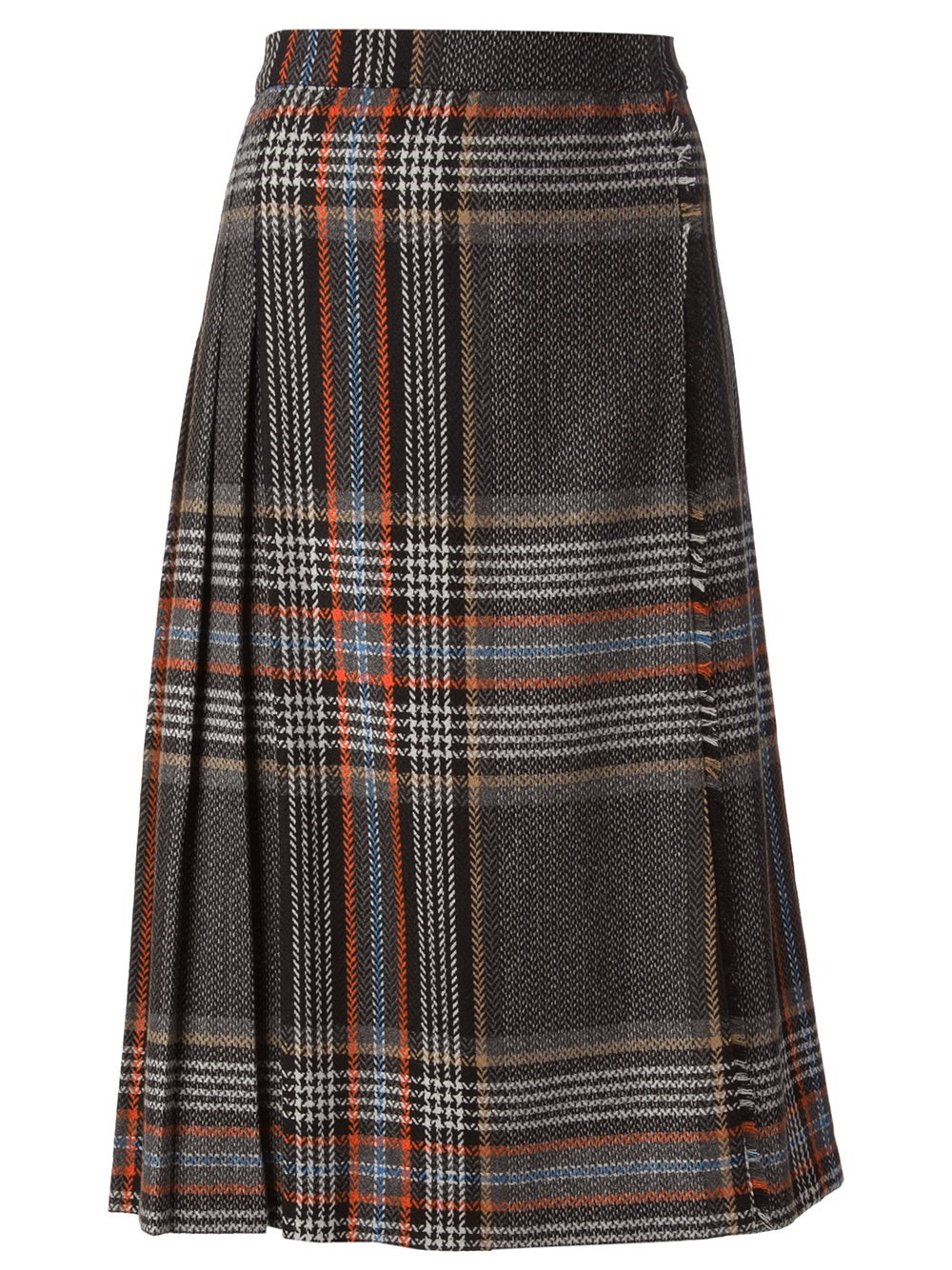 msgm pleated plaid skirt in gray grey lyst