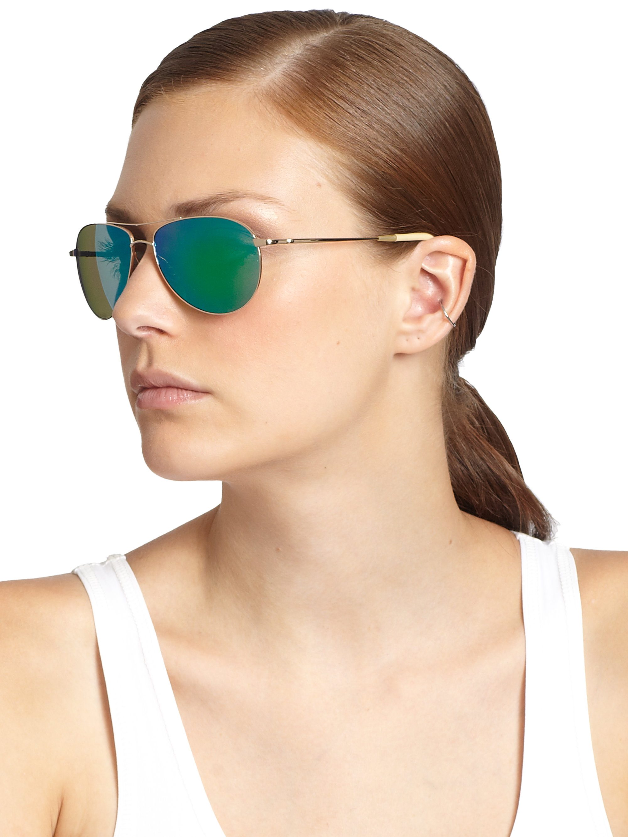 ae3494f236f Lyst - Oliver Peoples Benedict 59 Aviator Sunglasses in Green