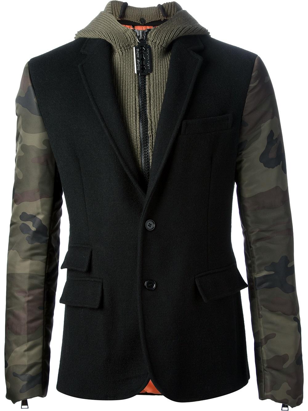 lyst philipp plein hooded blazer jacket in black for men. Black Bedroom Furniture Sets. Home Design Ideas