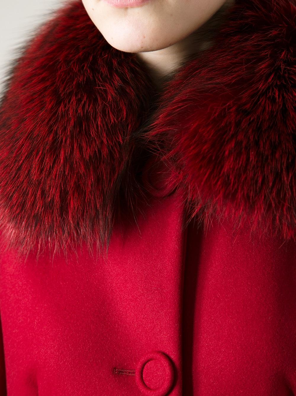 Lyst Red Valentino Fox Fur Collar Coat In Red