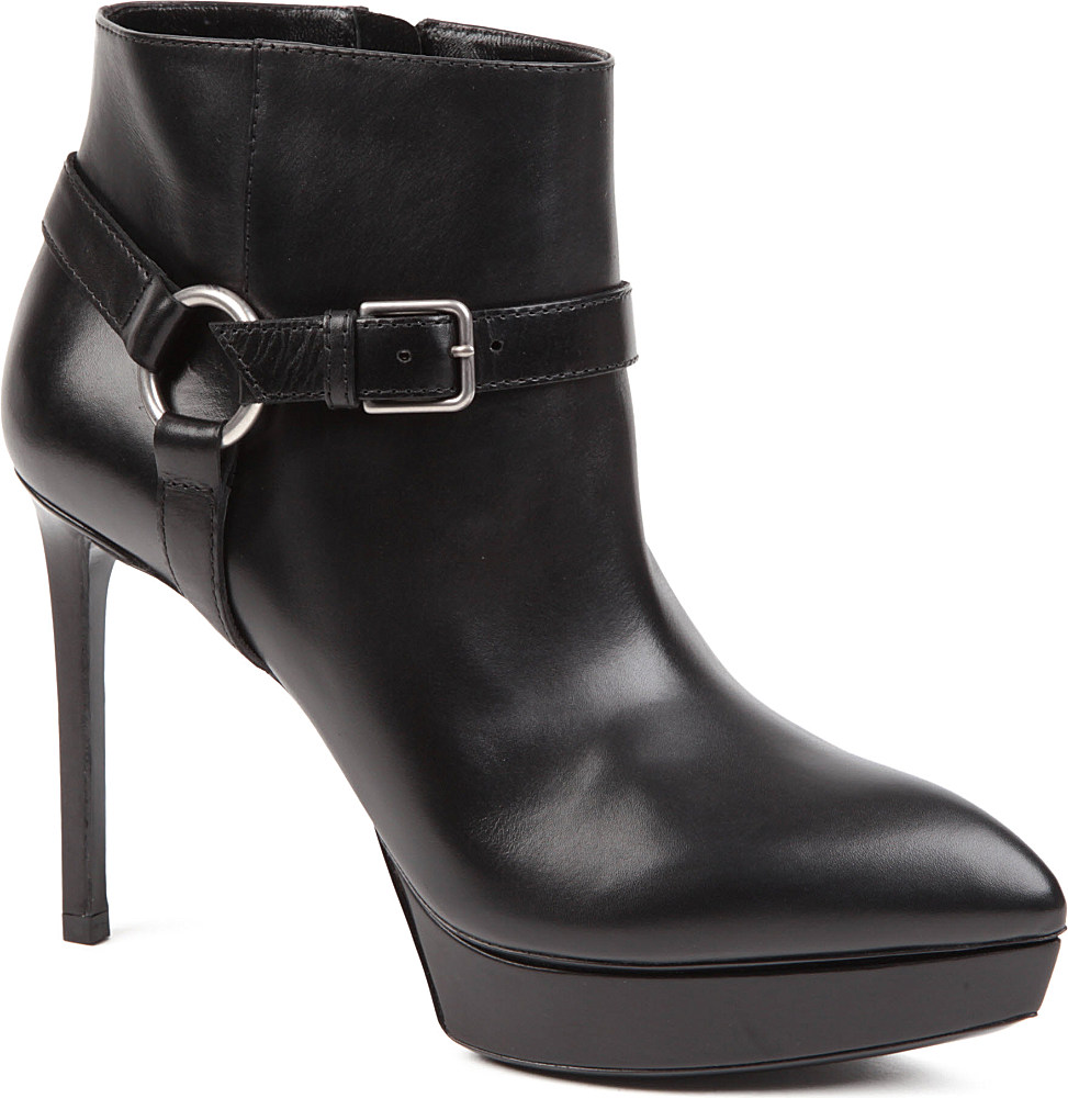 laurent janis buckle ankle boots in black lyst