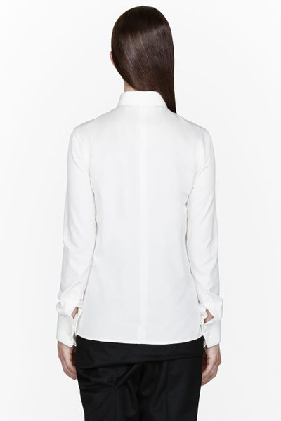 Thamanyah Ivory White French Cuff Dress Shirt In White