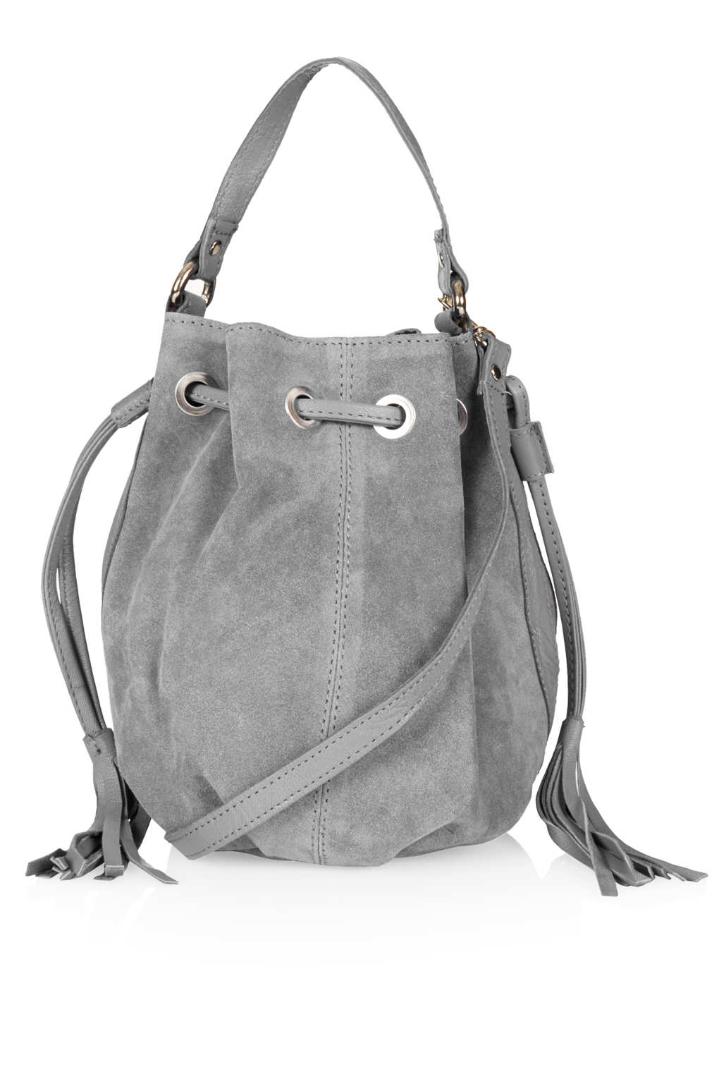 Topshop Suede Pouch In Gray Lyst