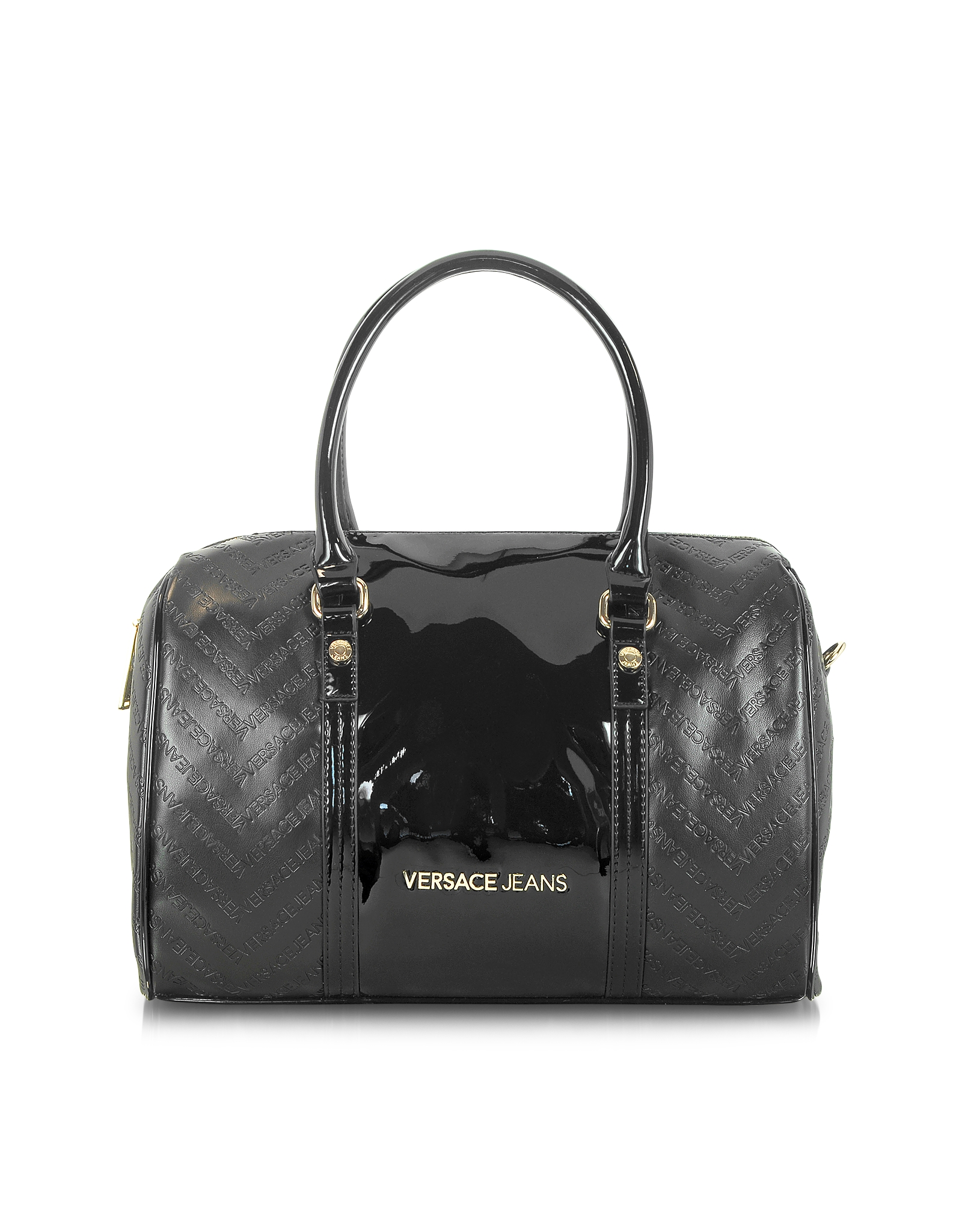 2e987bf1b8a9 Lyst - Versace Jeans Black Signature Eco Patent Leather Satchel Bag ...