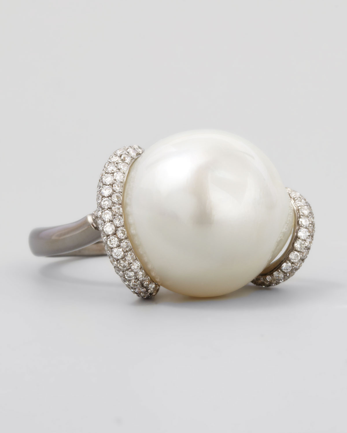Property Brothers Apply Lyst Eli Jewels White Keshi Pearl And Diamond Ring In