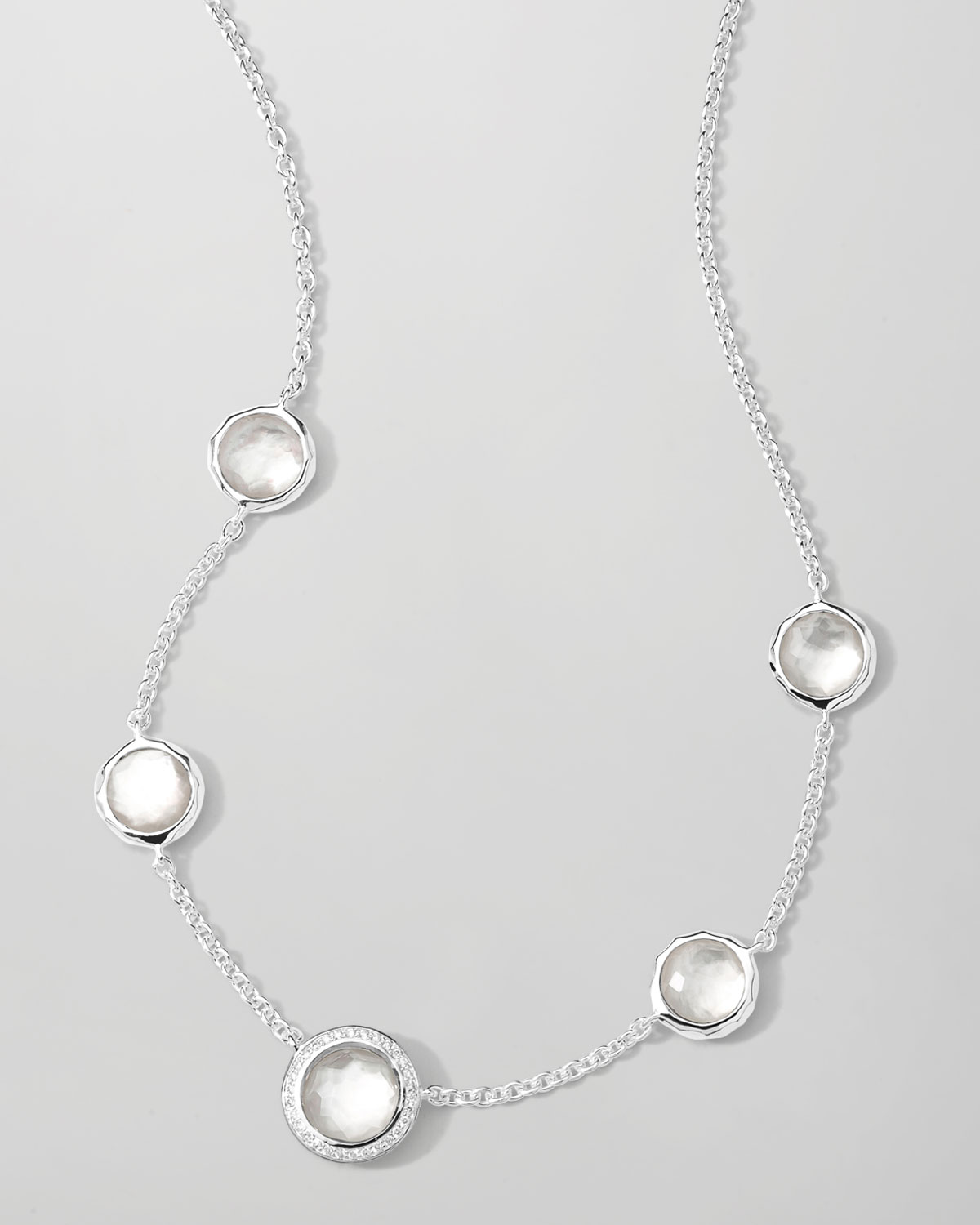 Ippolita Stella Necklace in Mother-of-Pearl Doublet & Diamonds 16-18 ZSrEs