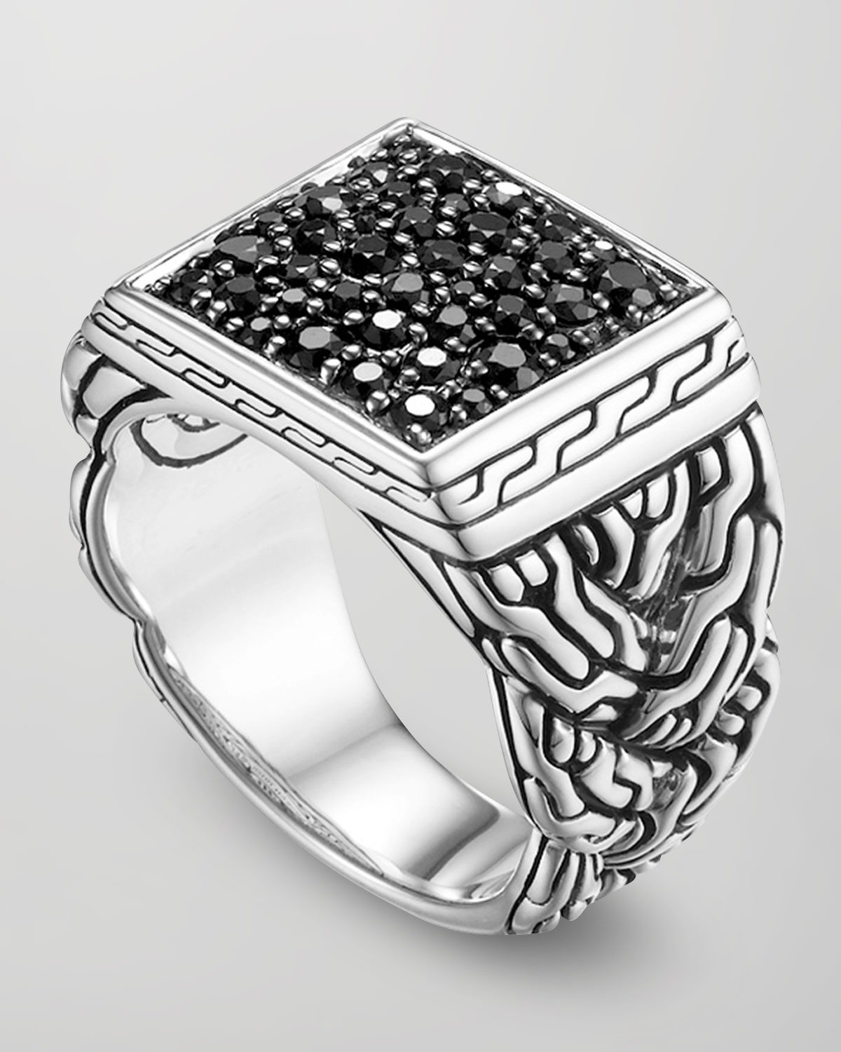 Silver Lava Square Ring With Black Sapphire Size 10 For Men Lyst