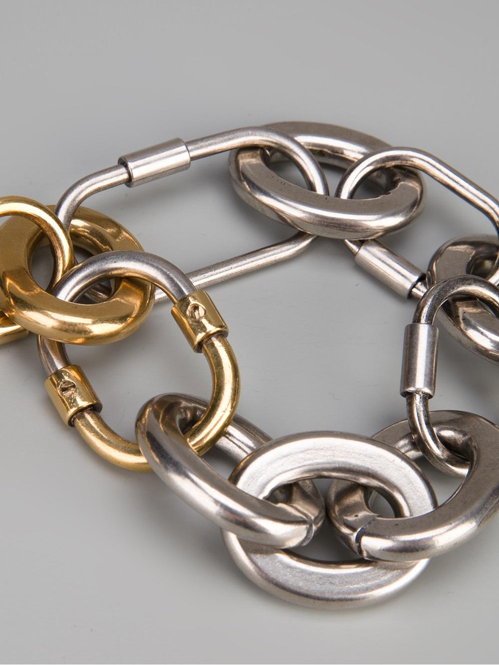 lyst lanvin chunky chain bracelet in metallic