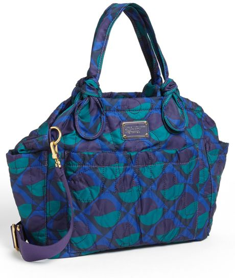 marc by marc jacobs pretty nylon elizababy diaper bag in blue jungle green m. Black Bedroom Furniture Sets. Home Design Ideas