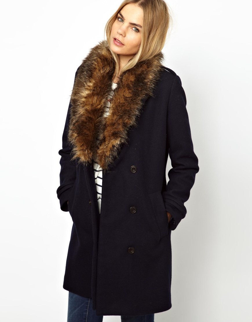 Asos Parka London Maisy Pea Coat with Faux Fur Trim in Blue | Lyst