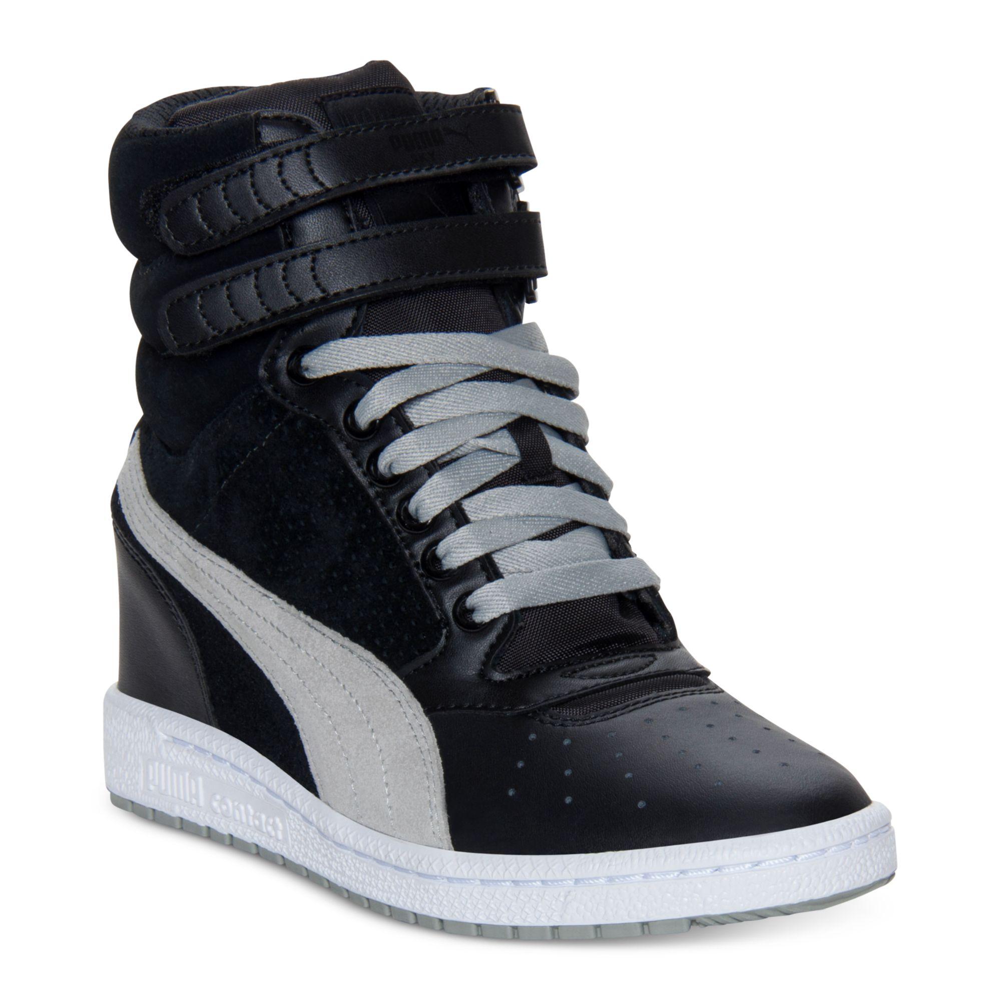246c74b43f PUMA Sky Wedge Casual Sneakers in Black - Lyst