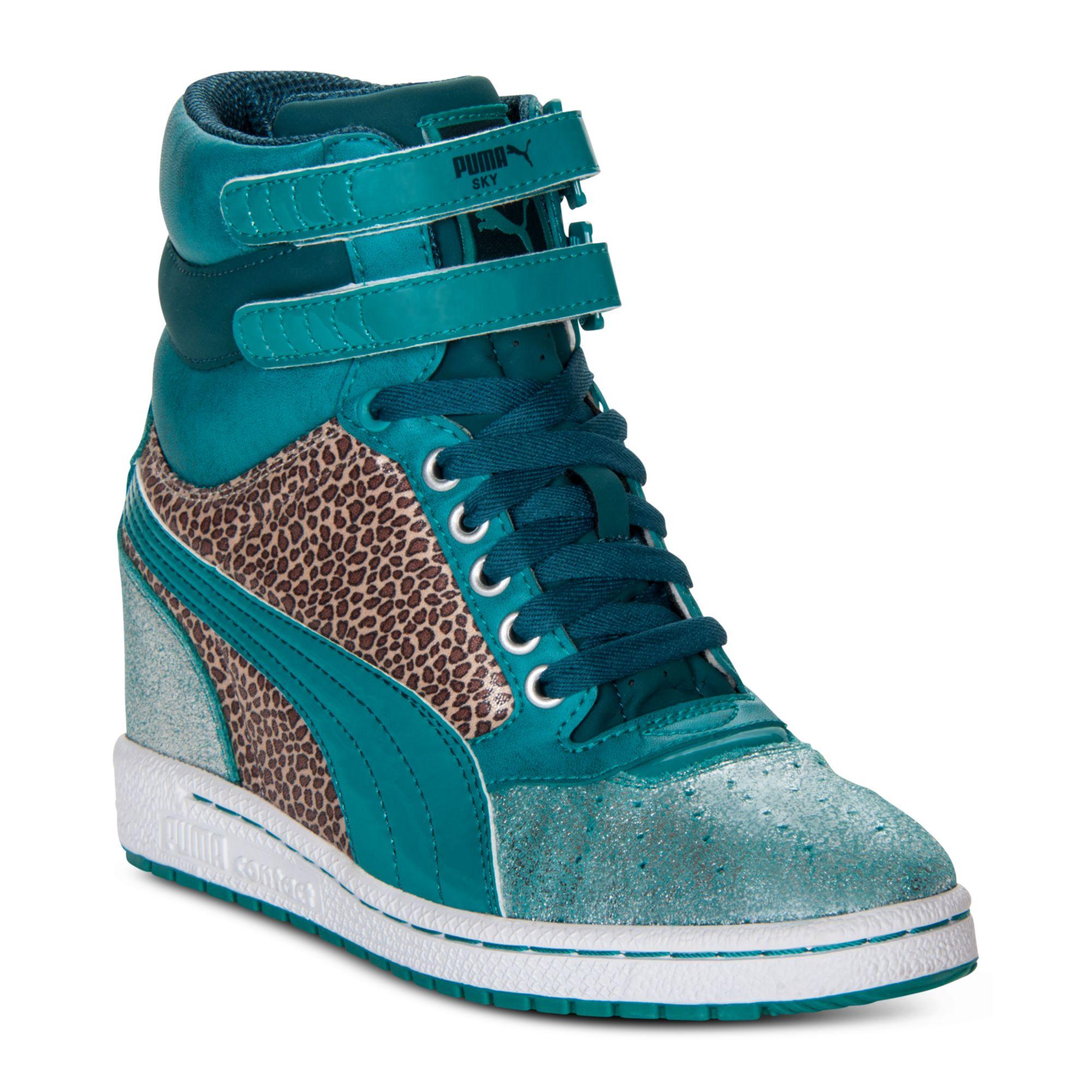 8e1e878a7db Lyst - PUMA Sky Wedge Shine Casual Sneakers in Green