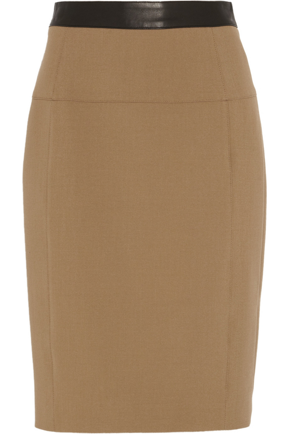burberry leathertrimmed stretchcrepe pencil skirt in brown