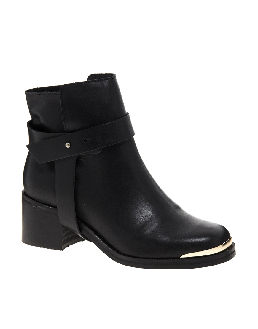 Carvela kurt geiger Swap Leather Black Heeled Ankle Boots in Black ...