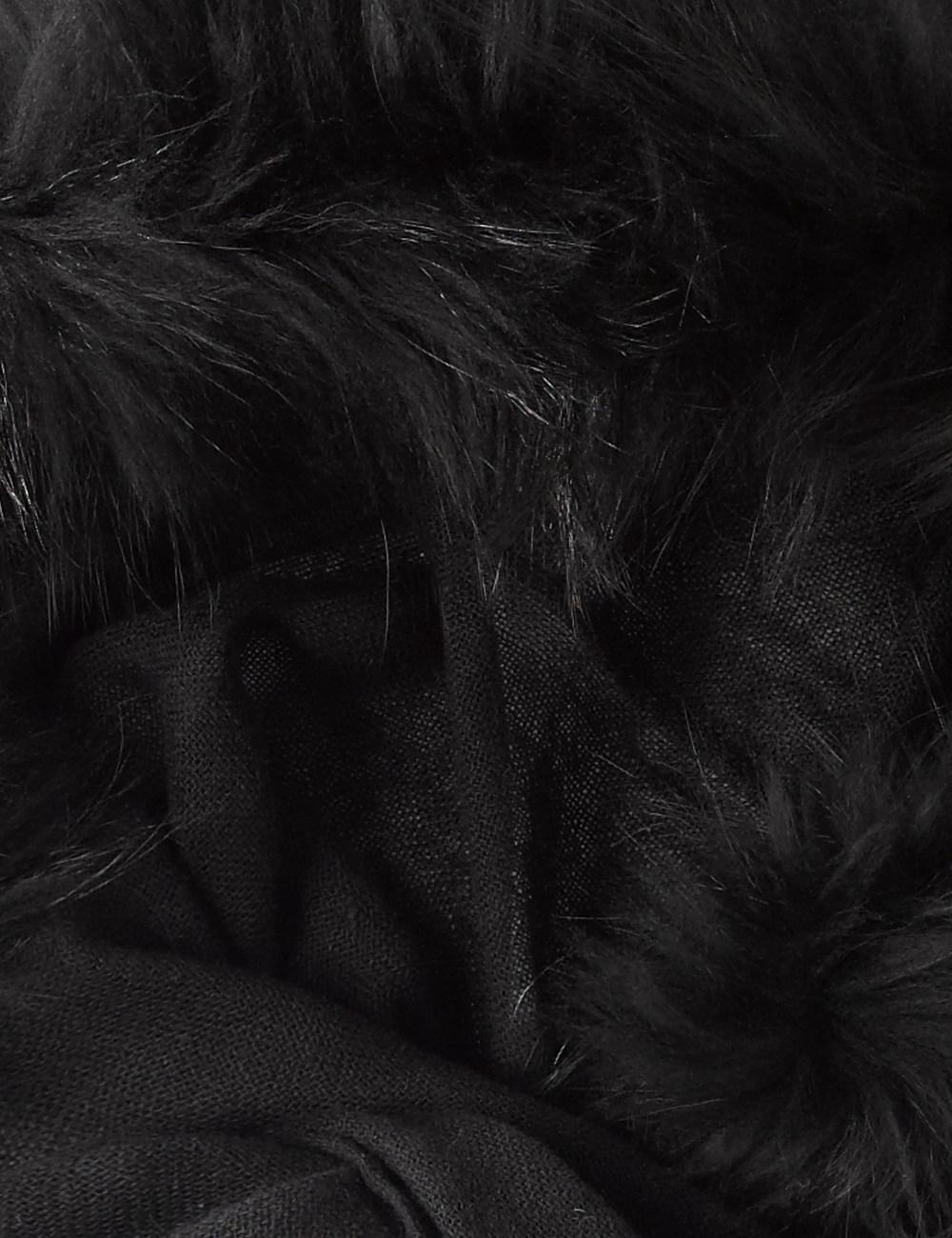 Charlotte Simone Black Fur Lined Hood Scarf In Black Lyst