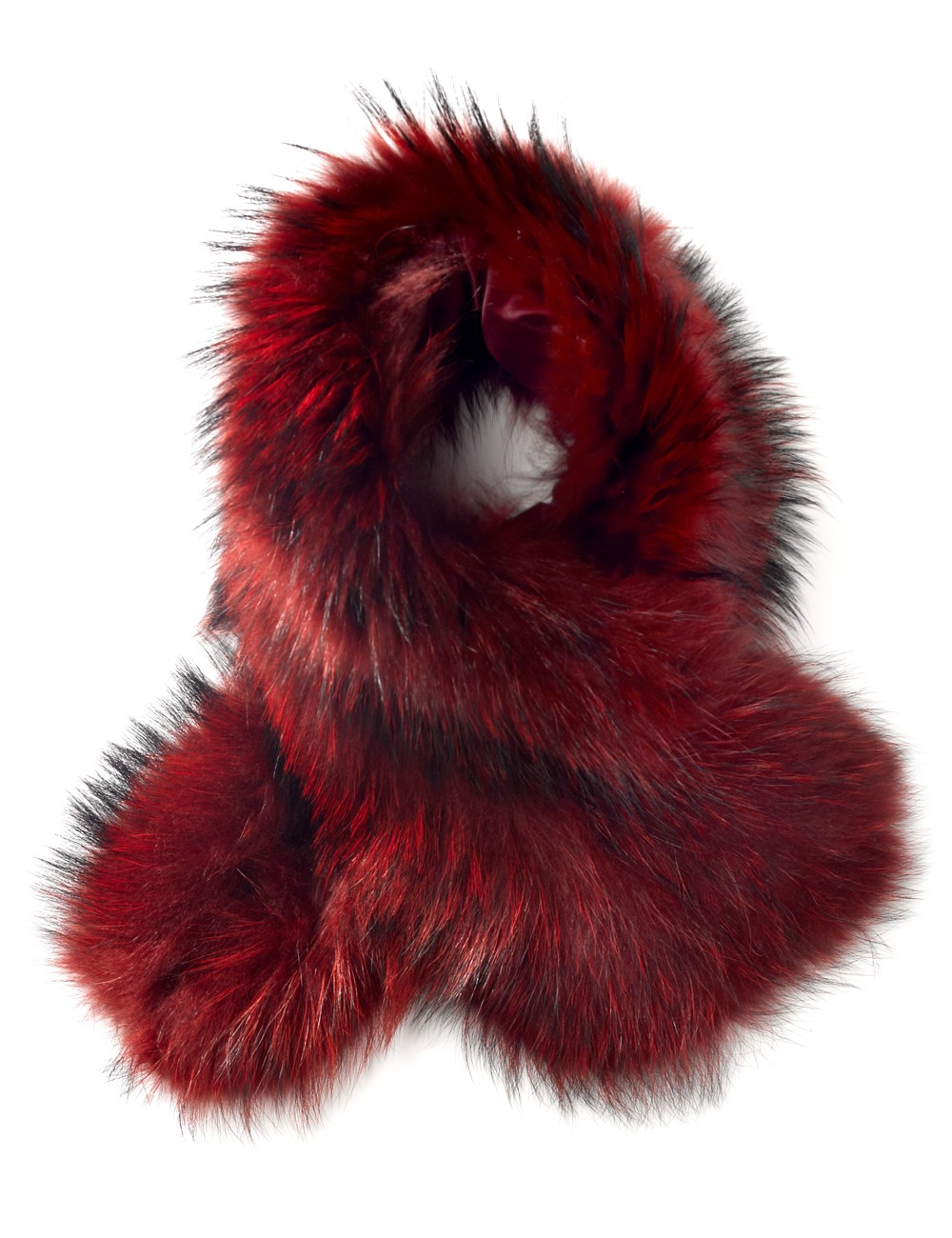 Charlotte Simone Berry Red Fur Scarf Cuff In Red Lyst