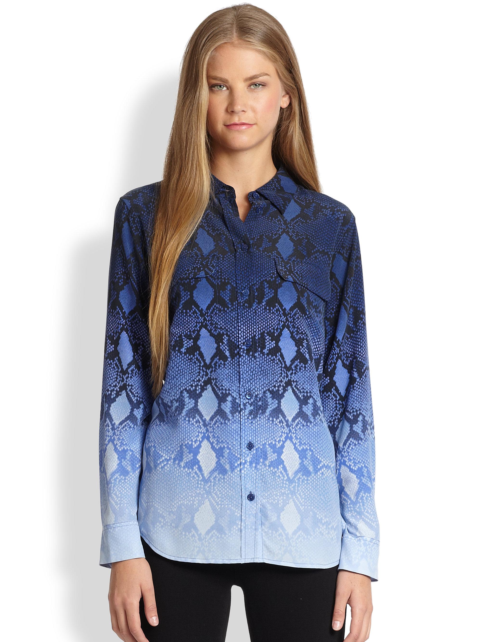 5804ef6b0b1754 Lyst - Equipment Slim Signature Silk Ombré Pythonprint Shirt in Blue