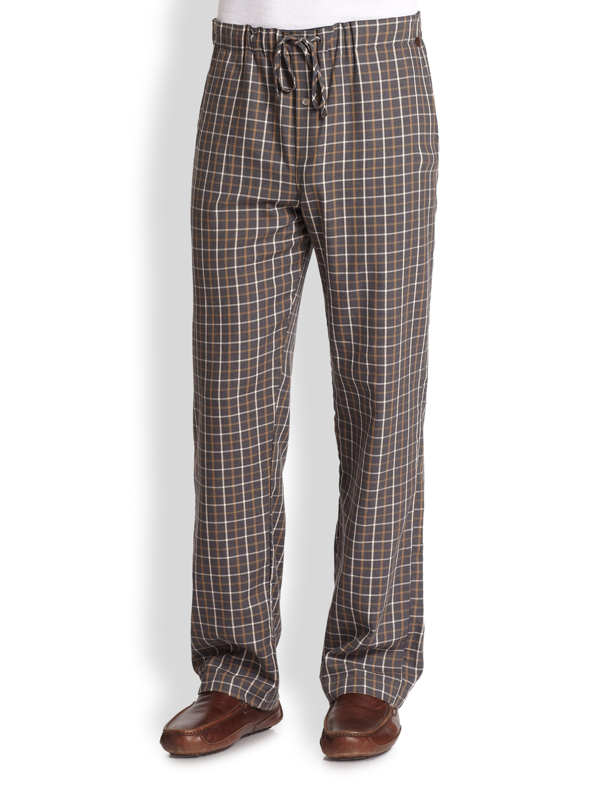 Hanro Edward Woven Lounge Pants In Brown For Men Multi