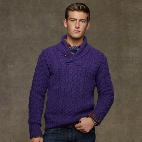 Cable Knit V Neck Sweater