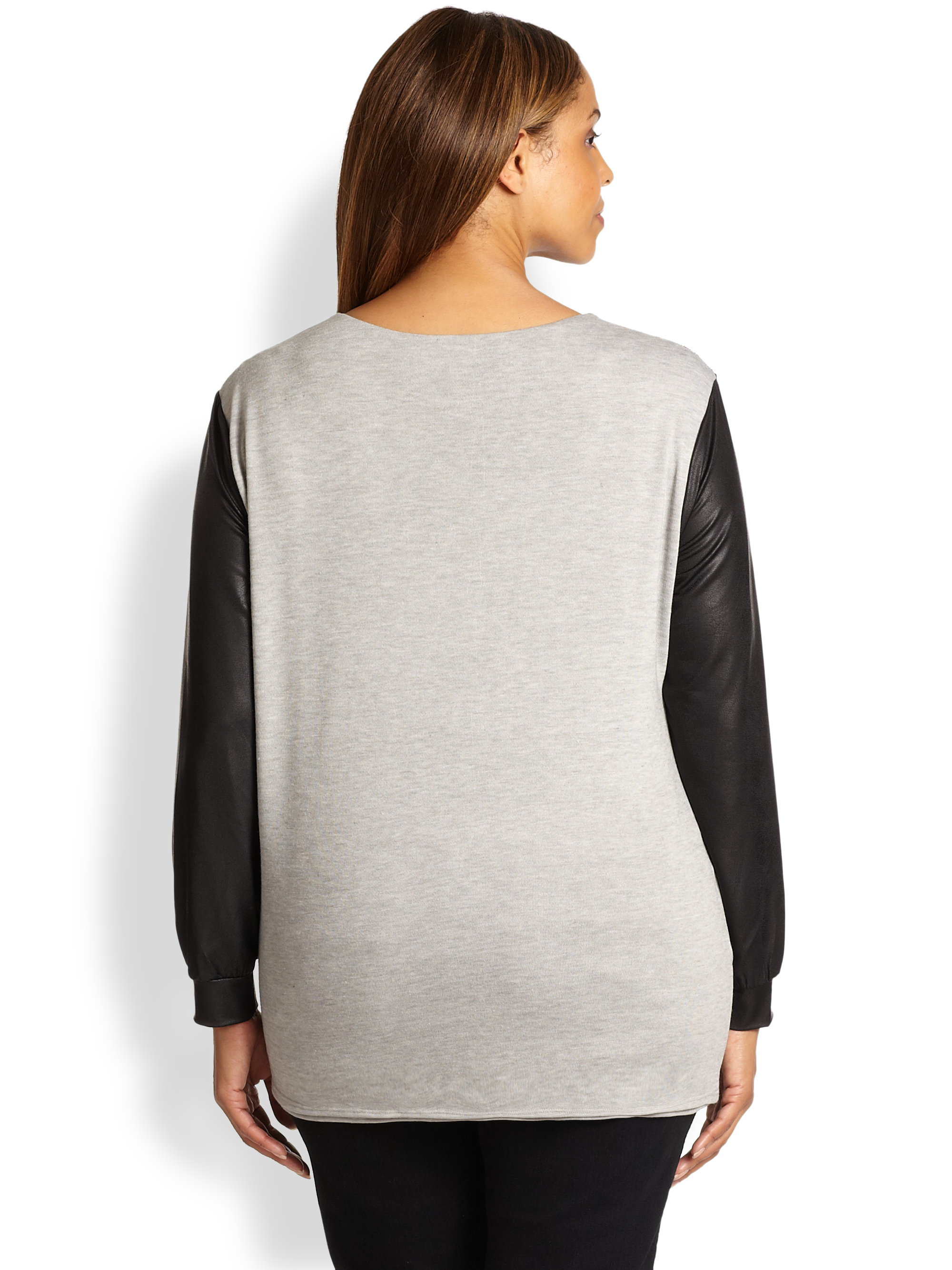 Lyst t bags beaded faux leathersleeve sweater in gray for Define faux leather