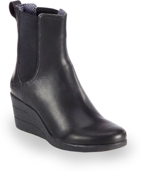 ugg dupre leather wedge ankle boots in black lyst