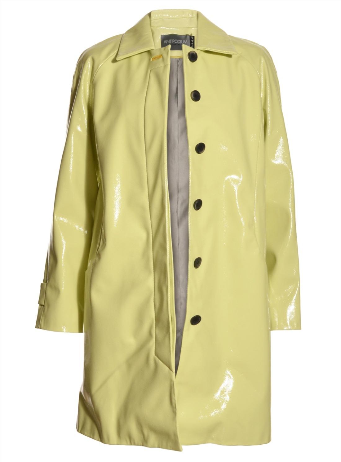 Lyst Antipodium Slicker Coat In Pistachio Vinyl By In Yellow