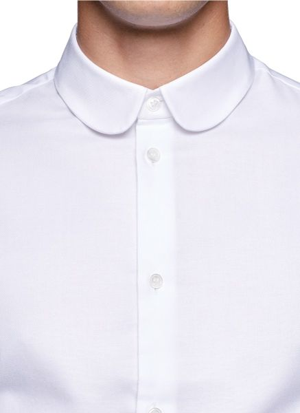 Carven Round Collar Cotton Shirt in White for Men   Lyst
