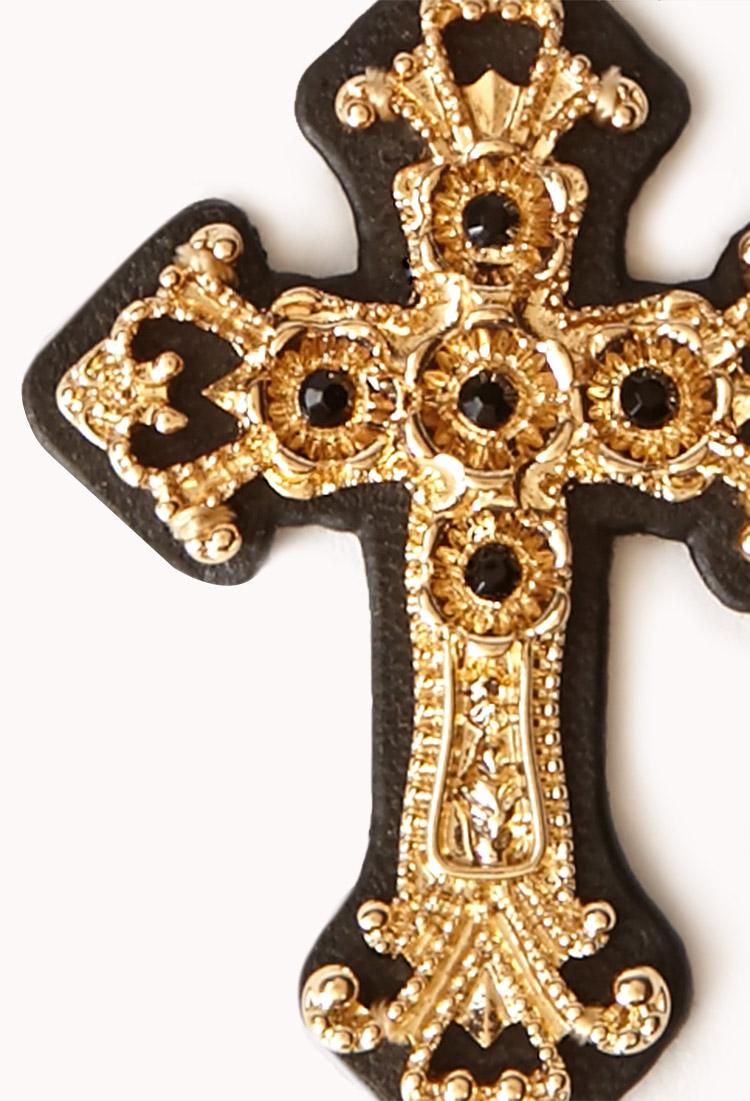 Lyst forever 21 ornate cross drop earrings in metallic for Forever 21 jewelry earrings