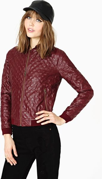 Nasty Gal Tough Love Faux Leather Bomber Jacket In Purple