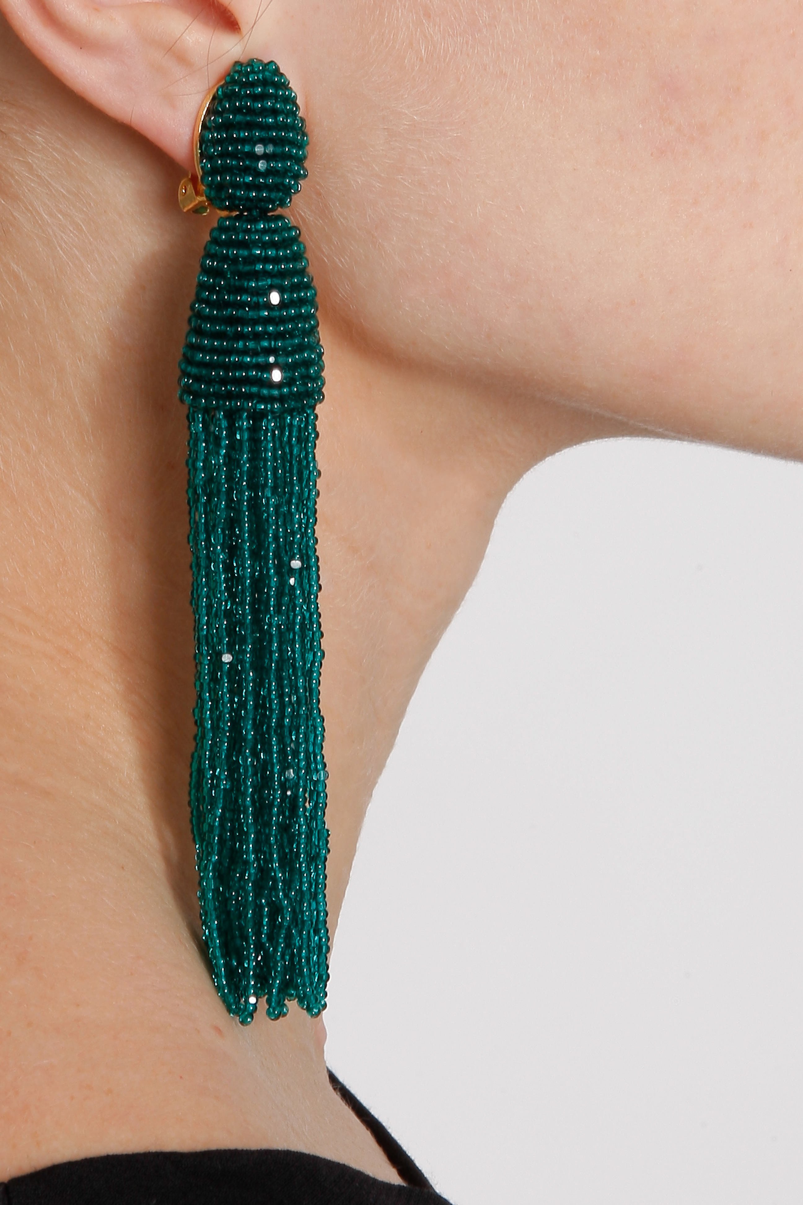 beaded tassel earrings - Green Oscar De La Renta 50i4RwE8iZ