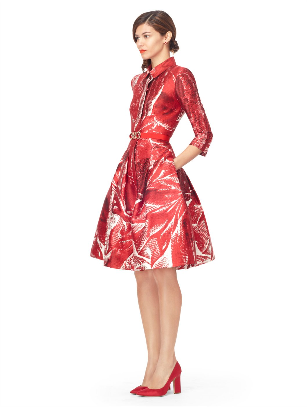 lyst oscar de la renta 34 sleeve shirt dress with full skirt in red. Black Bedroom Furniture Sets. Home Design Ideas