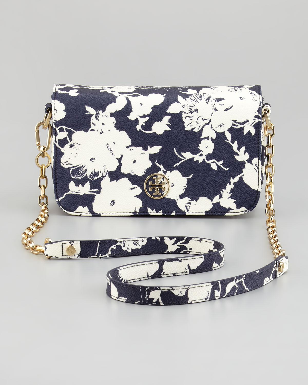Tory Burch Robinson Floralprint Mini Crossbody Bag In Blue | Lyst