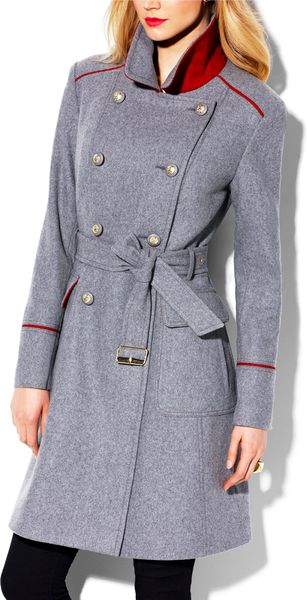 Vince Camuto Wool Military Coat In Gray Light Grey Red