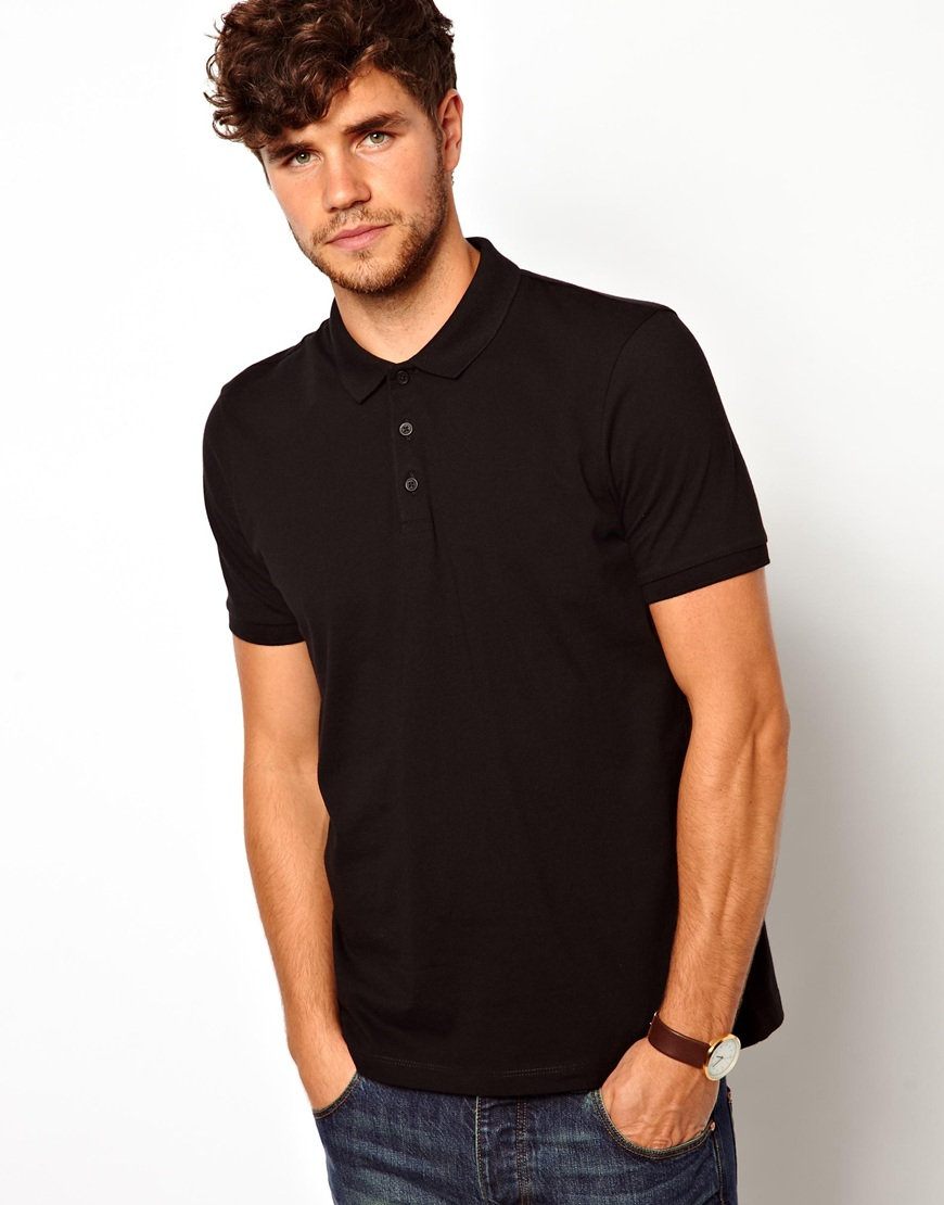 Asos Polo Shirt In Jersey In Black For Men Lyst