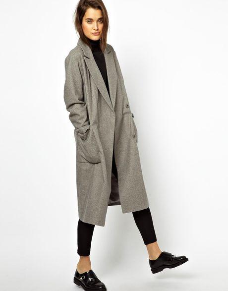 Asos Oversized Wrap Front Coat In Gray Grey Lyst