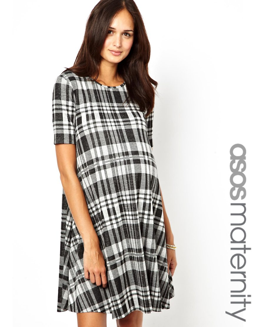 Asos check jacquard swing dress in gray lyst gallery womens swing dresses ombrellifo Choice Image